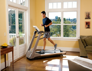 Who is using the treadmill?